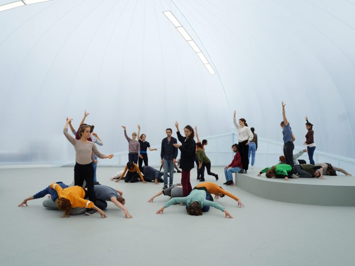 A group of dancers stand in a white gallery space. They are all holding various postures, some are crawling on the floor and some are standing up with their hands raised.