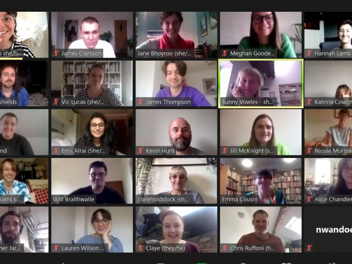 Screenshot from a Zoom call with 24 participants on screen, including artists Emma Cousin and Kevin Hunt.
