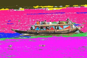 A digital collage image including a long boat filled with people and bright coloured in background in shades of pinks, blues, reds and yellows.