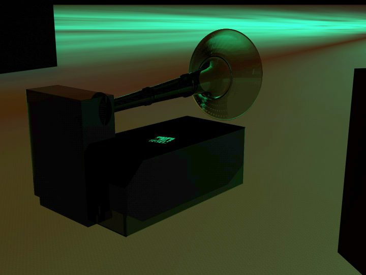 A darkened silhouette of a sound system speaker flat on the ground with a large fog-horn shaped object just above it. The silhouetted objects are black and are on a background of a deep orange and green gradient.